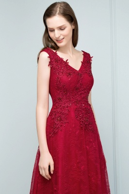 JUDITH | A-line V-neck Long Sleeveless Lace Appliques Prom Dresses with Crystals_8