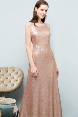 A-line Scoop Sleeveless Floor Length Sequined Prom Dresses_5