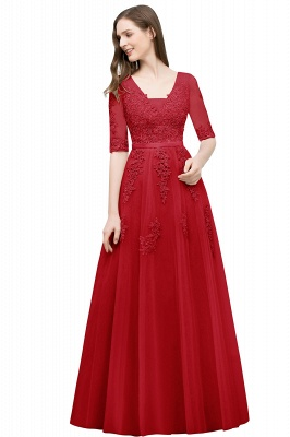A-line Half-sleeve V-neck Floor Length Appliqued Tulle Prom Dress with Sash In Stock_4