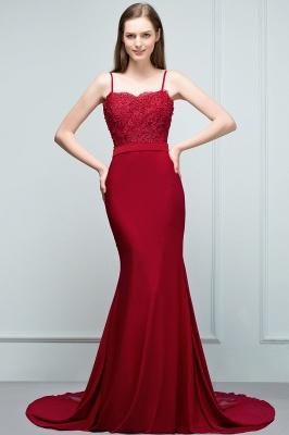 Mermaid Charmeuse Lace Spaghetti-Straps Sweetheart Sleeveless Floor-Length Bridesmaid Dresses with Beads_1