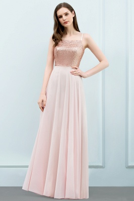Cheap A-line Floor Length Spaghetti Sequined Top Chiffon Prom Dress in Stock_2