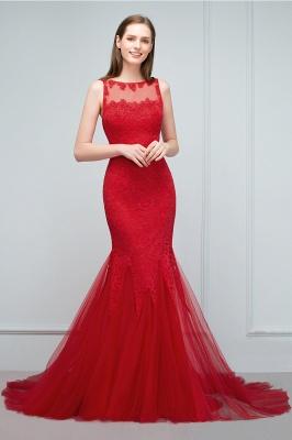 Mermaid Floor Length Illusion Neckline Sleeveless Tulle Lace Prom Dresses_10