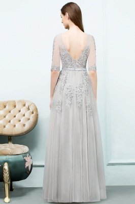A-line Half-sleeve V-neck Floor Length Appliqued Tulle Prom Dress with Sash In Stock_10