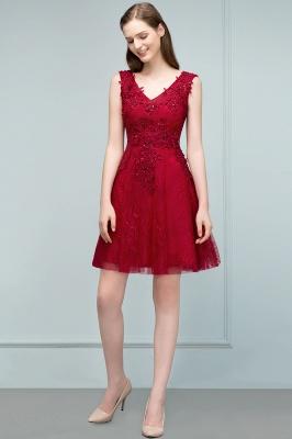 JULIA   A-line Sleeveless Short V-neck Lace Appliqued Tulle Prom Dresses_4