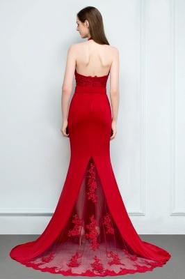 Mermaid Charmeuse Lace Halter Sleeveless Floor-Length Bridesmaid Dresses with Sash_2