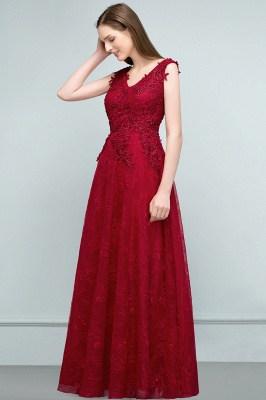JUDITH | A-line V-neck Long Sleeveless Lace Appliques Prom Dresses with Crystals_2