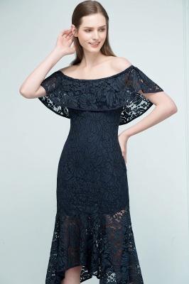 Mermaid Off-shoulder Tea Length Black Lace Prom Dresses_6