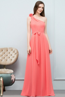 A-line One Shoulder Floor Length Chiffon Prom Dresses with Bow Sash_6