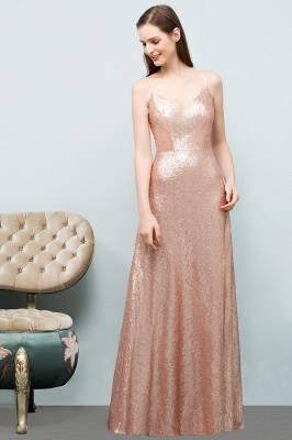 A-line Floor Length V-neck Spaghetti Sequined Prom Dresses_8