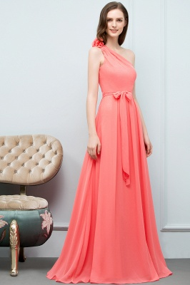 A-line One Shoulder Floor Length Chiffon Prom Dresses with Bow Sash_5