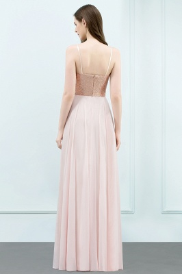 Cheap A-line Floor Length Spaghetti Sequined Top Chiffon Prom Dress in Stock_3