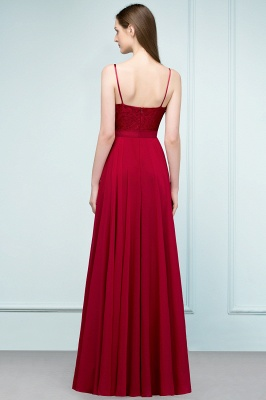 A-line Spaghetti Floor Length Lace Appliques Prom Dress In Stock_3