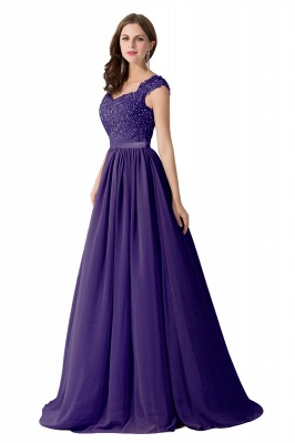 Cheap A-line V Neck Chiffon Bridesmaid Dress with Appliques in Stock_4