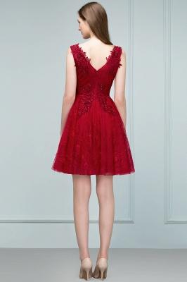JULIA   A-line Sleeveless Short V-neck Lace Appliqued Tulle Prom Dresses_3