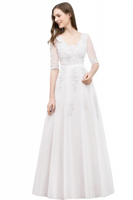 A-line Half-sleeve V-neck Floor Length Appliqued Tulle Prom Dress with Sash In Stock_1