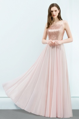 Cheap A-line Floor Length Spaghetti Sequined Top Chiffon Prom Dress in Stock_4
