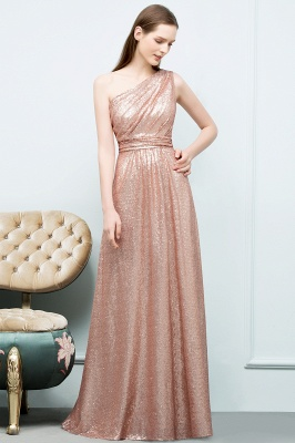 A-line One-shoulder Sleeveless Floor Length Sequins Prom Dresses_4
