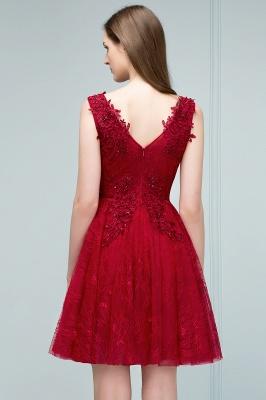 JULIA   A-line Sleeveless Short V-neck Lace Appliqued Tulle Prom Dresses_9