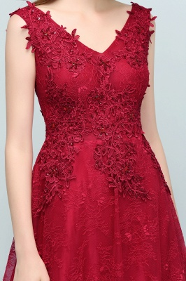 JUDITH | A-line V-neck Long Sleeveless Lace Appliques Prom Dresses with Crystals_10