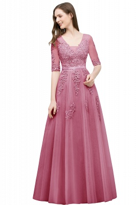 A-line Half-sleeve V-neck Floor Length Appliqued Tulle Prom Dress with Sash In Stock_3