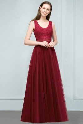 A-line Scoop Long Sleevless Lace Top Burgundy Tulle Prom Dress In Stock_8