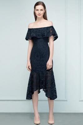 Mermaid Off-shoulder Tea Length Black Lace Prom Dresses_12