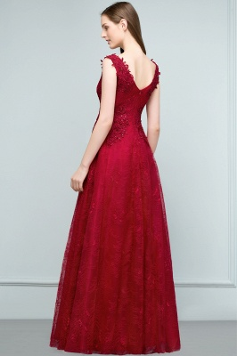 JUDITH | A-line V-neck Long Sleeveless Lace Appliques Prom Dresses with Crystals_4