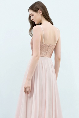 Cheap A-line Floor Length Spaghetti Sequined Top Chiffon Prom Dress in Stock_6