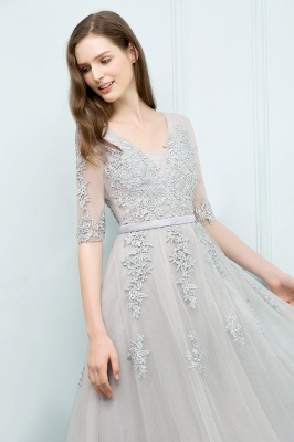 A-line Half-sleeve V-neck Floor Length Appliqued Tulle Prom Dress with Sash In Stock_14