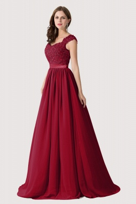 Cheap A-line V Neck Chiffon Bridesmaid Dress with Appliques in Stock_3