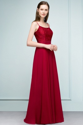 A-line Spaghetti Floor Length Lace Appliques Prom Dress In Stock_2