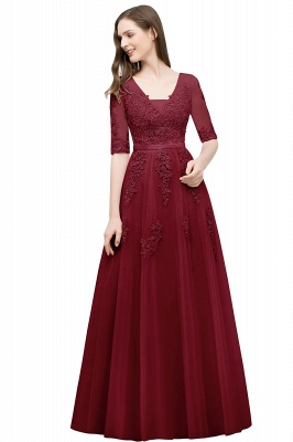 A-line Half-sleeve V-neck Floor Length Appliqued Tulle Prom Dress with Sash In Stock_5