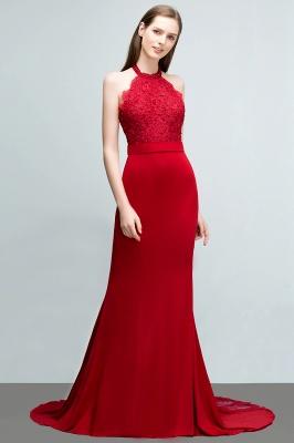 Mermaid Charmeuse Lace Halter Sleeveless Floor-Length Bridesmaid Dresses with Sash_3