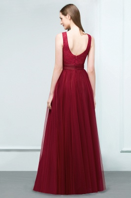 A-line Scoop Long Sleevless Lace Top Burgundy Tulle Prom Dress In Stock_3