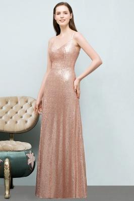 A-line Floor Length V-neck Spaghetti Sequined Prom Dresses_2