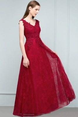 JUDITH | A-line V-neck Long Sleeveless Lace Appliques Prom Dresses with Crystals_7