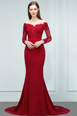 Mermaid Charmeuse Off-the-Shoulder V-Neck Long-Sleeves Floor-Length Bridesmaid Dress with Appliques_1