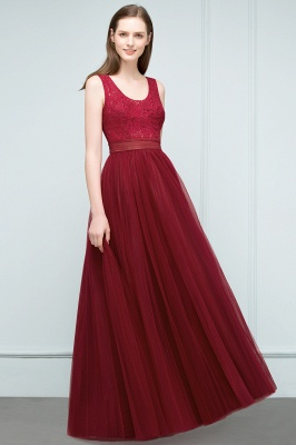 A-line Scoop Long Sleevless Lace Top Burgundy Tulle Prom Dress In Stock_7
