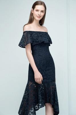 Mermaid Off-shoulder Tea Length Black Lace Prom Dresses_8