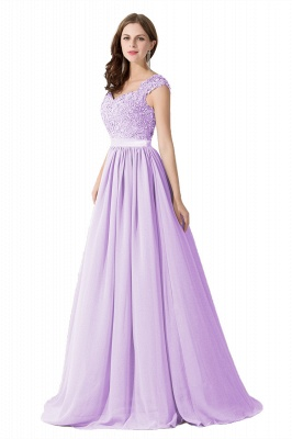 Cheap A-line V Neck Chiffon Bridesmaid Dress with Appliques in Stock_5