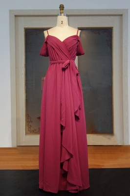 Chiffon Burgundy Bridesmaid Dresses,Spaghettis Straps Long Bridesmaid Dress_1