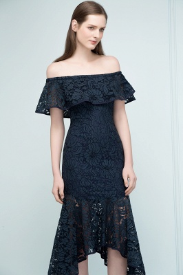 Mermaid Off-shoulder Tea Length Black Lace Prom Dresses_7