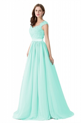 Cheap A-line V Neck Chiffon Bridesmaid Dress with Appliques in Stock_8