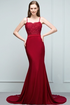 Mermaid Spaghetti Sweetheart Long Burgundy Appliques Prom Dresses with Beads_7