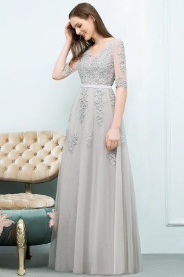 A-line Half-sleeve V-neck Floor Length Appliqued Tulle Prom Dress with Sash In Stock_12