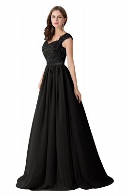 Cheap A-line V Neck Chiffon Bridesmaid Dress with Appliques in Stock_7