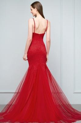 Mermaid Floor Length Illusion Neckline Sleeveless Tulle Lace Prom Dresses_4