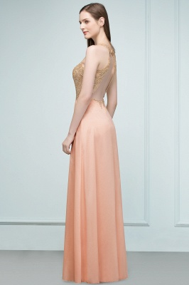 Cheap A-line Floor Length V-neck Sleeveless Appliques Chiffon Prom Dress in Stock_7