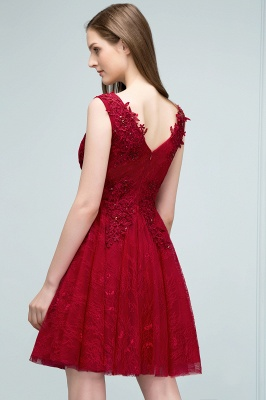JULIA   A-line Sleeveless Short V-neck Lace Appliqued Tulle Prom Dresses_8