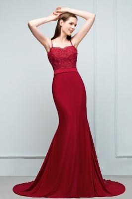 Mermaid Charmeuse Lace Spaghetti-Straps Sweetheart Sleeveless Floor-Length Bridesmaid Dresses with Beads_3
